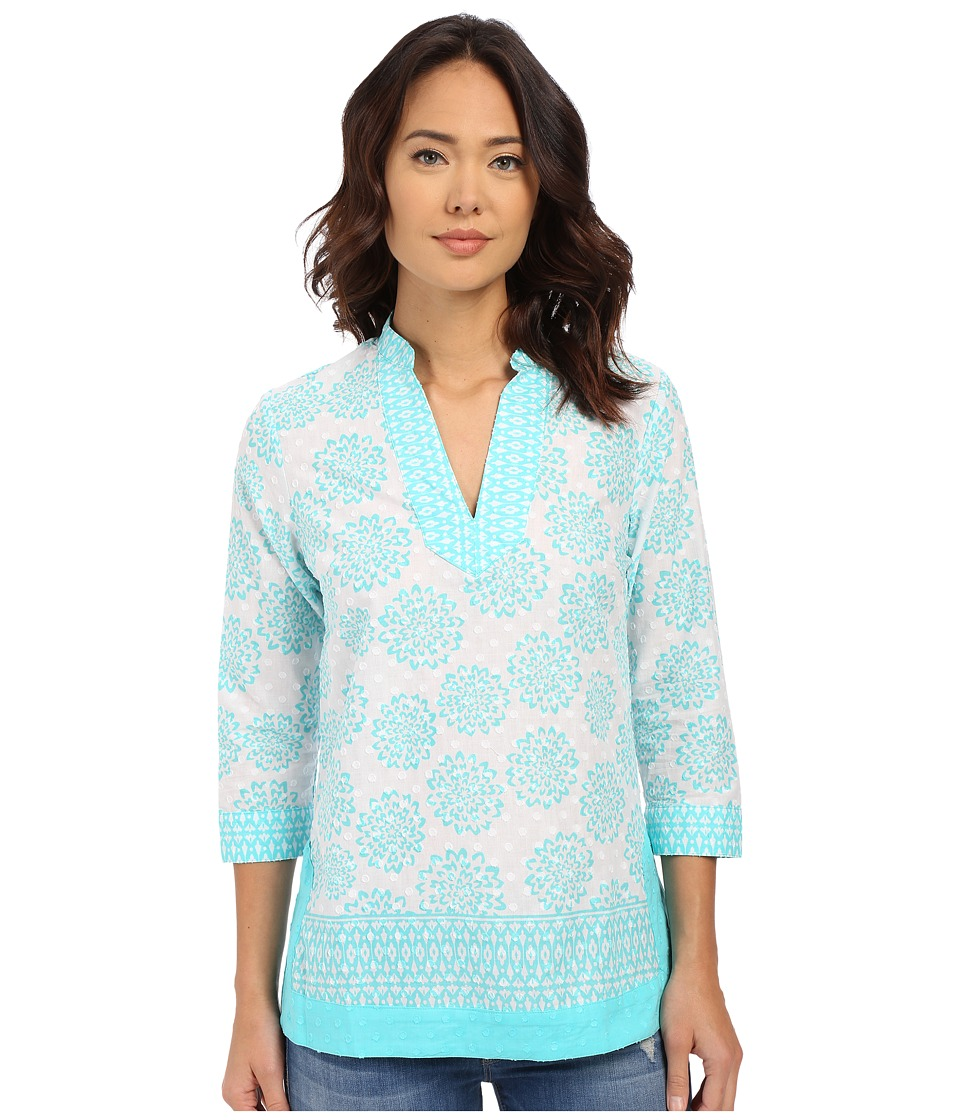 Christin Michaels - Loiret Blouse (Fresh Aqua/White) Women's Blouse