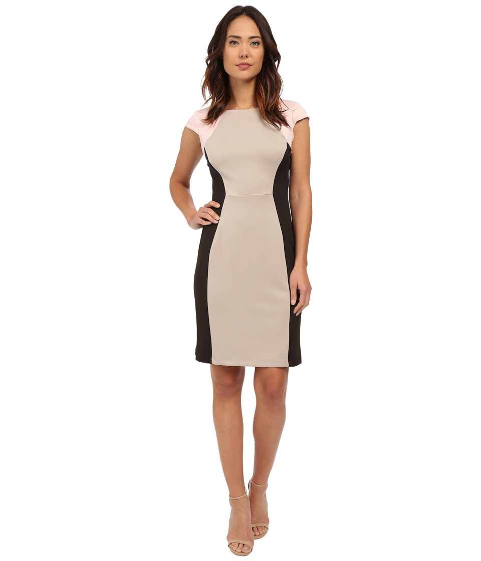 Christin Michaels - Courtney Scuba Dress (Black/Taupe/Pink) Women's Dress