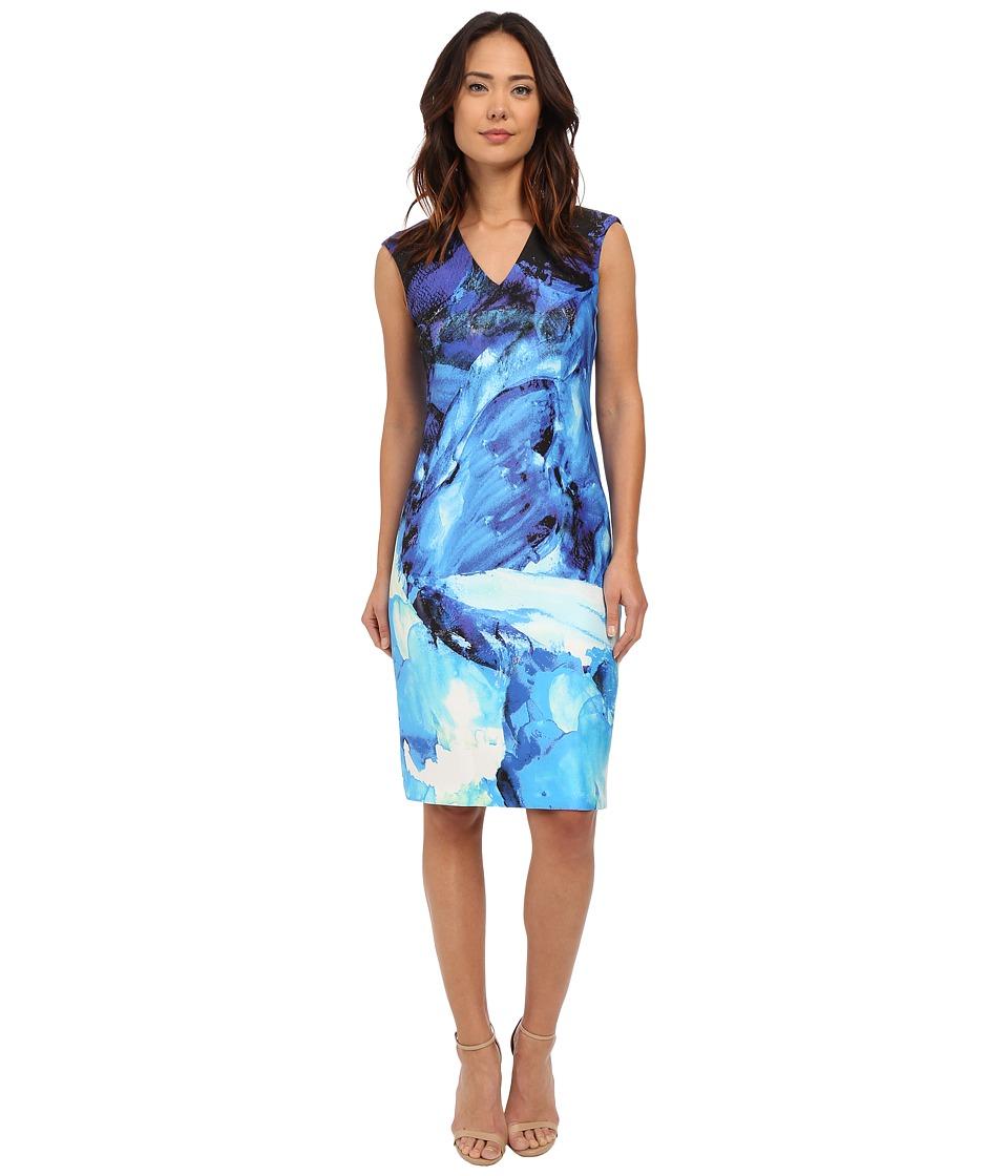 Christin Michaels Ancona Printed Scuba Dress (Blue) Women