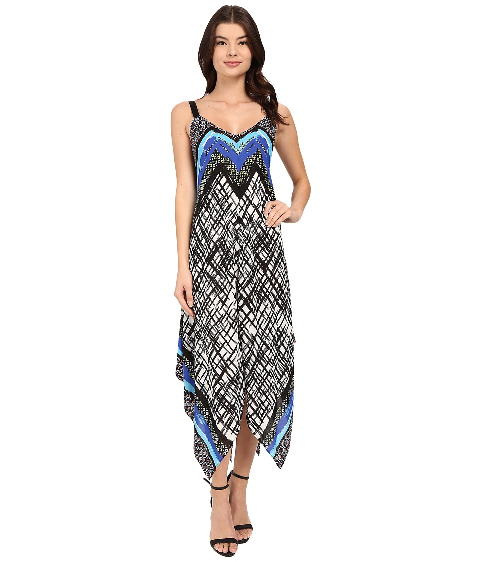 Christin Michaels - Francesca Printed Maxi (Black/White/Blue) Women's Dress