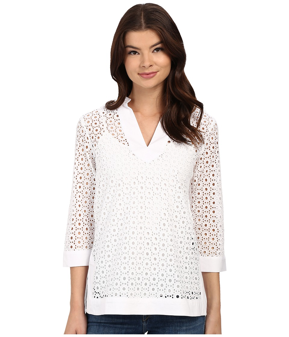 Christin Michaels - Vienne Eyelet Top (White) Women's Clothing