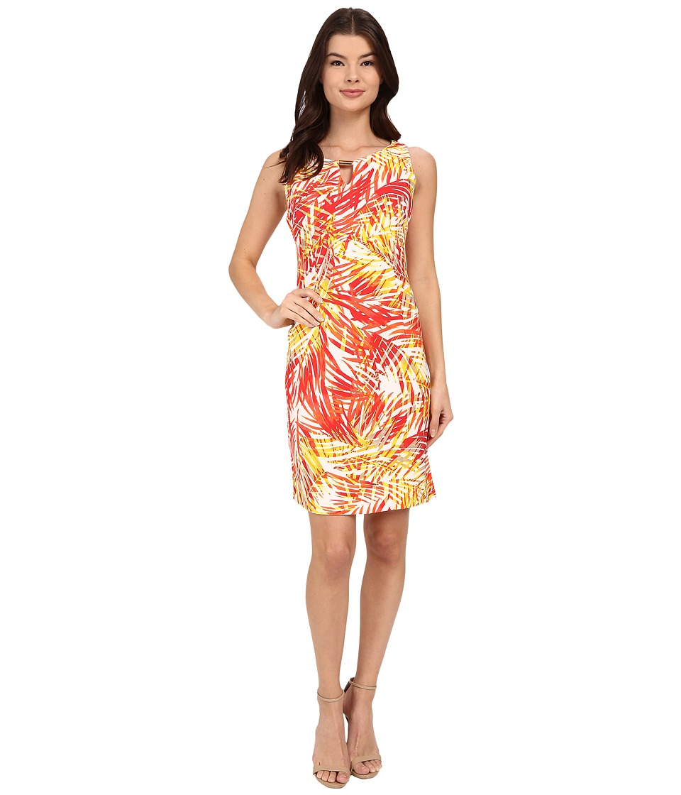 Christin Michaels - Kai Tropical Dress (Coral/Pink/Yellow) Women's Dress