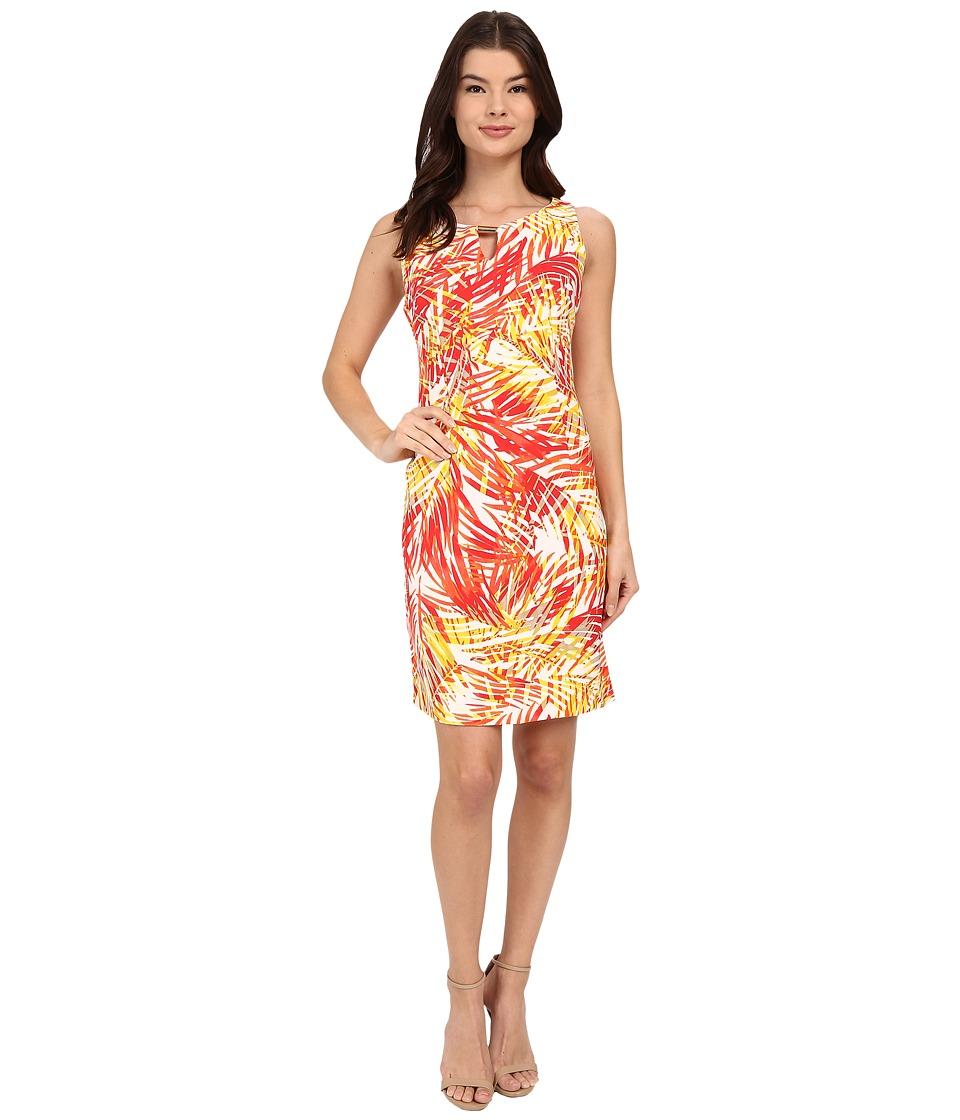 Christin Michaels - Kai Tropical Dress (Coral/Pink/Yellow) Women's Dress