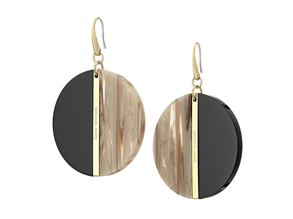 Michael Kors - Color Block Disc Earrings (Gold/Black/Sand) Earring