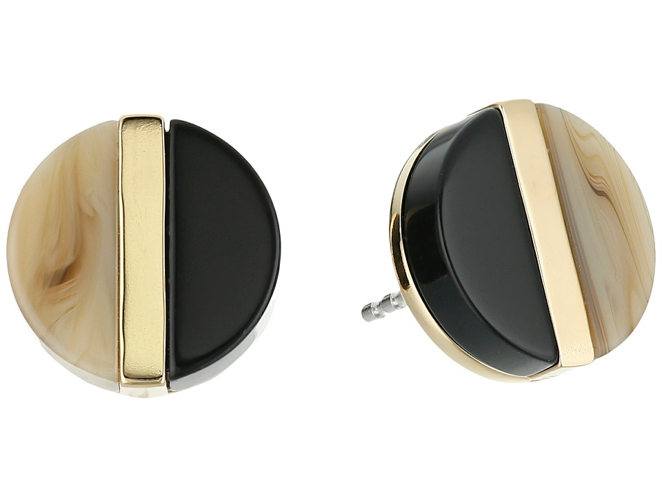 Michael Kors - Color Block Studs Earrings (Gold/Black Acetate/Sand Acetate) Earring