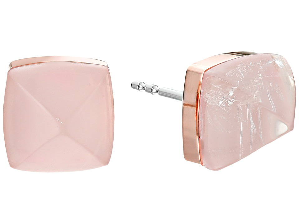Michael Kors - Blush Rush Semi Precious Pyramid Stud Earrings (Rose Gold/Blush) Earring