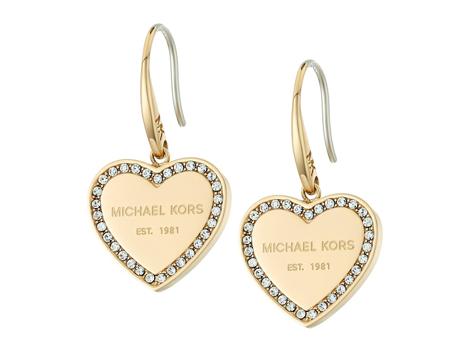 Michael Kors - Heritage Heart Drop Earrings (Gold/Clear) Earring