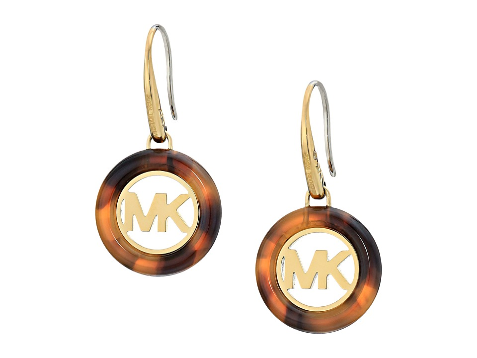 Michael Kors - Fulton Logo Drop Earrings (Gold/Tortoise) Earring