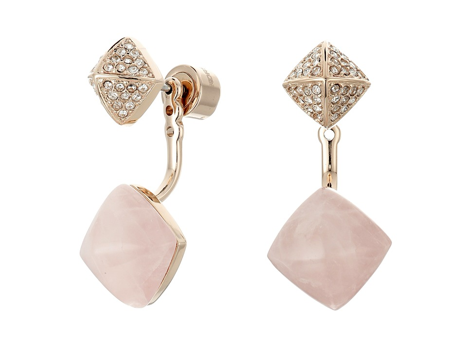 Michael Kors - Blush Rush Semi Precious Pave Pyramid Stud Earrings (Rose Gold/Blush/Clear) Earring