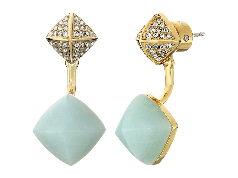 Michael Kors - Blush Rush Semi Precious Pave Pyramid Stud Earrings (Gold/Mint/Clear) Earring
