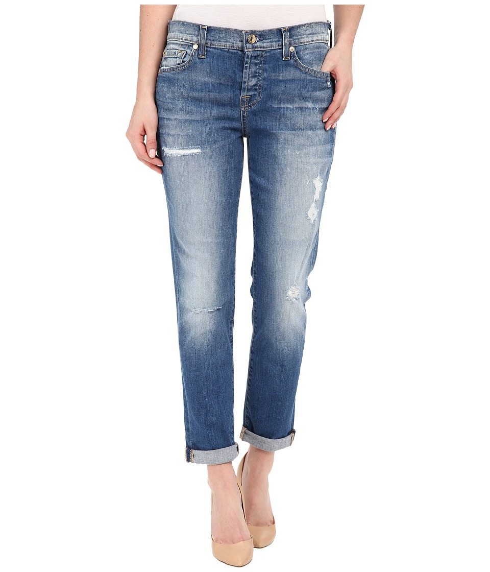 7 For All Mankind - Josefina w/ Destroy in Bright Bluebell (Bright Bluebell) Women's Jeans