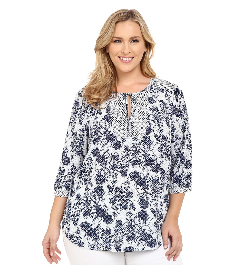 NYDJ Plus Size - Plus Size Patch Work Mosaic Blouse (Gloria Floret) Women's Blouse