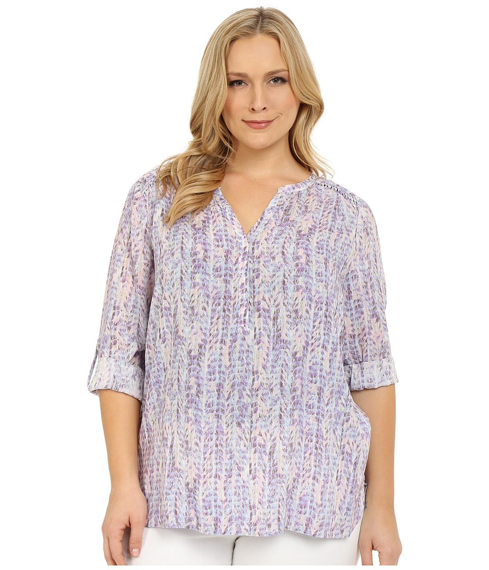 NYDJ Plus Size - Plus Size Henley Tunic (Featherly Camille) Women