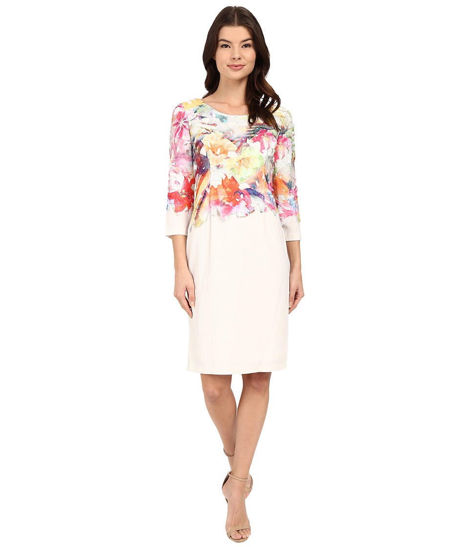 Christin Michaels - Barletta Printed Lace (Peach/Ivory) Women's Clothing