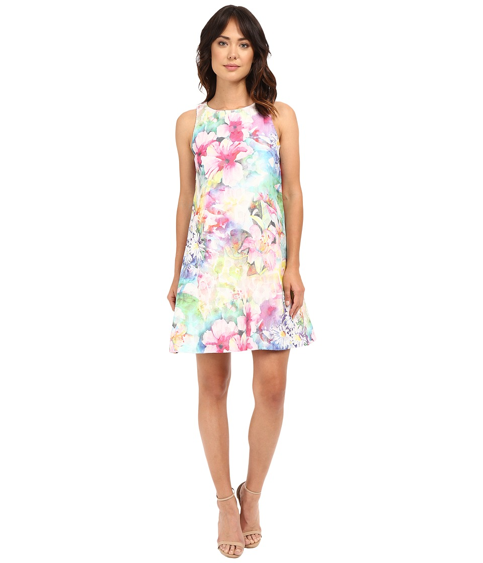 Christin Michaels - Printed Floral Trapeze (Pink/Blue) Women's Clothing
