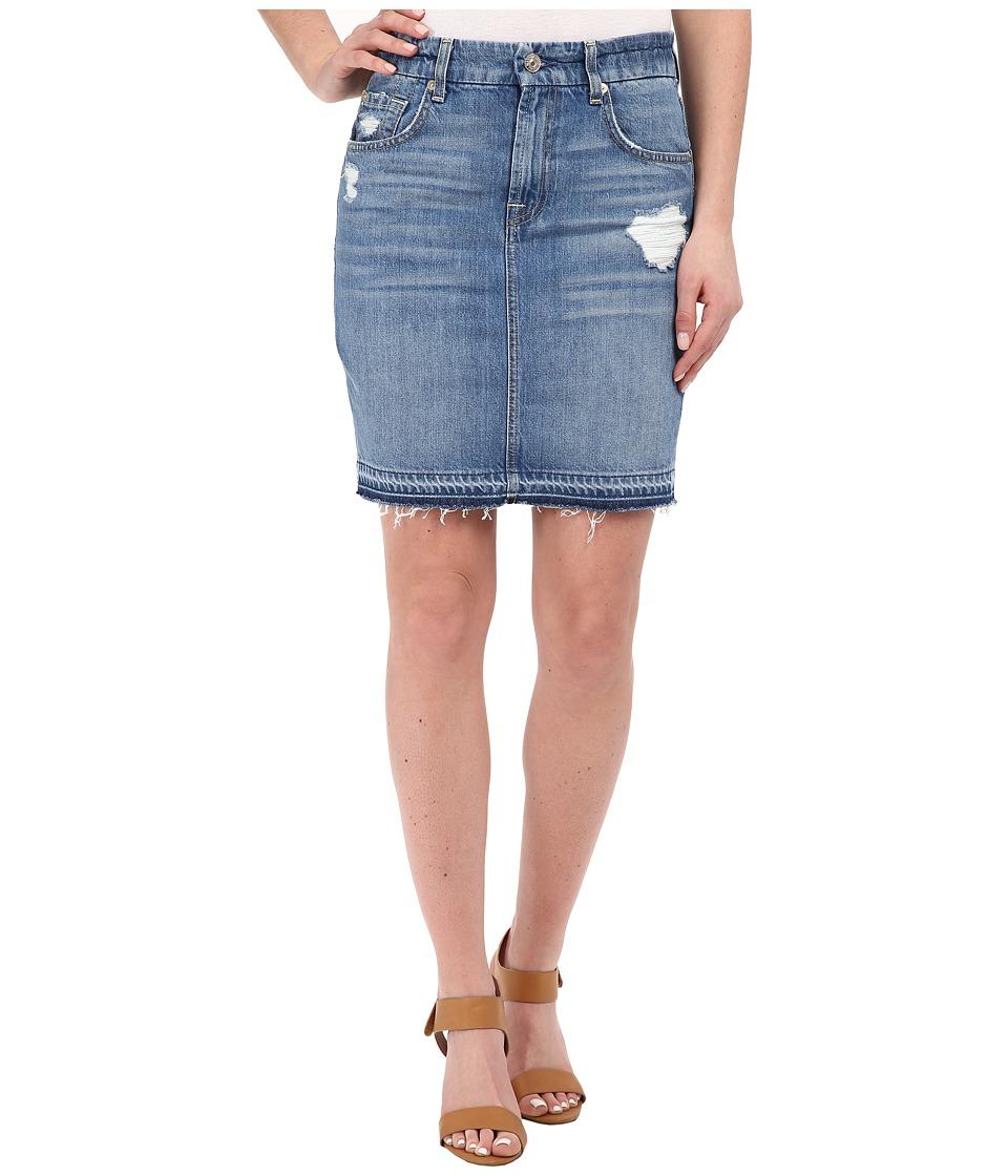 7 For All Mankind - Mini Pencil Skirt w/ Released Hem Destroy (Rigid Blue Orchid) Women's Skirt plus size,  plus size fashion plus size appare