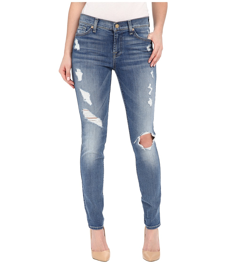 7 For All Mankind - The Skinny w/ Contrast Squiggle Destroy in Stretch Blue Orchid 2 (Stretch Blue Orchid 2) Women's Jeans