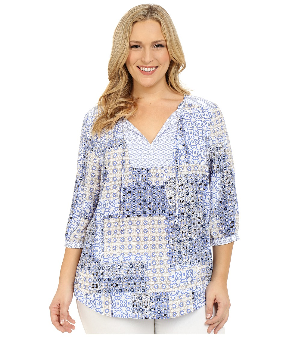 NYDJ Plus Size - Plus Size Patch Work Mosaic Blouse (Timeless Tiles) Women's Blouse