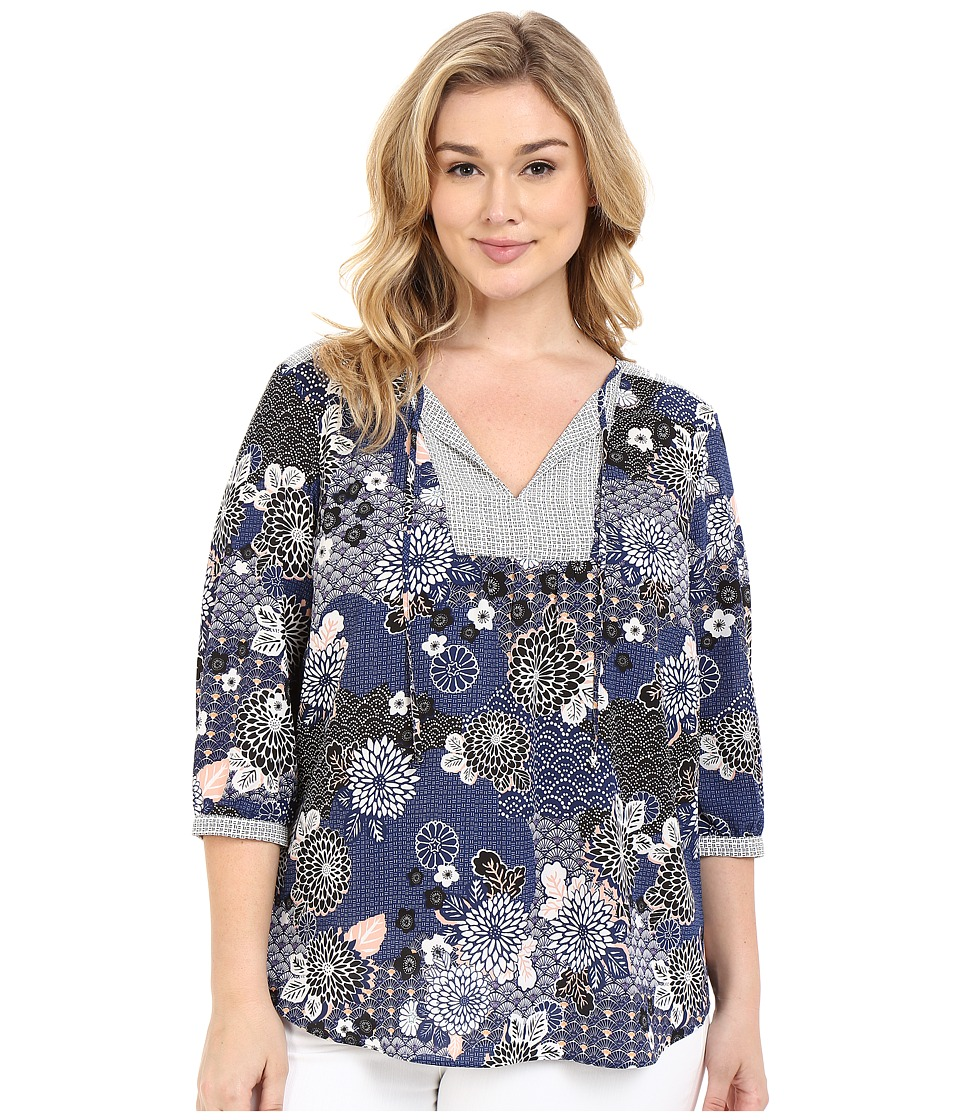 NYDJ Plus Size - Plus Size Patch Work Mosaic Blouse (Zen Garden) Women's Blouse