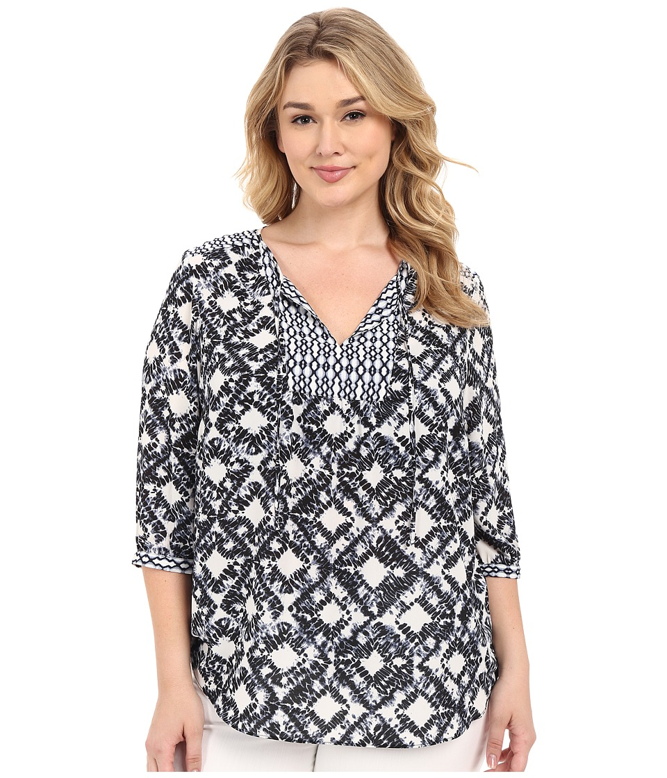 NYDJ Plus Size - Plus Size Patch Work Mosaic Blouse (Graphic Tie-Dye) Women's Blouse
