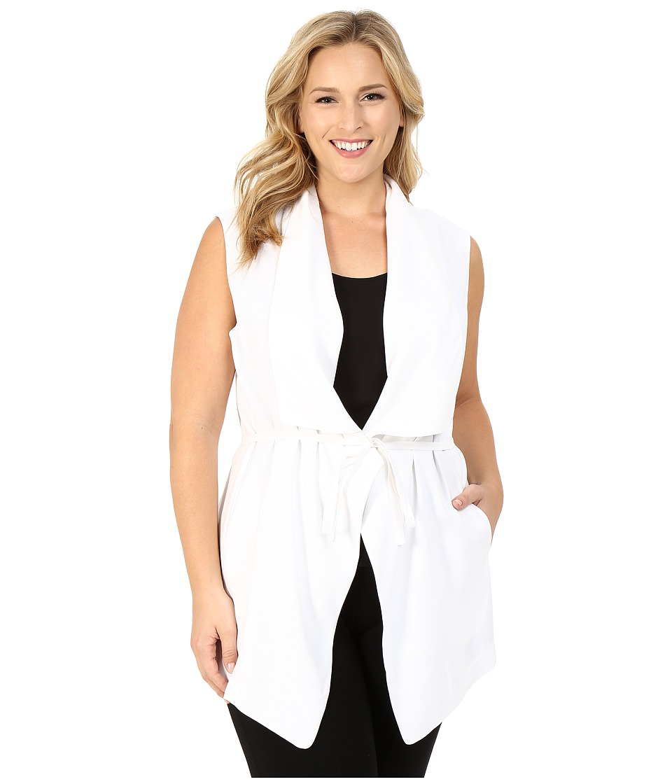 NYDJ Plus Size - Plus Size Sleeveless Cascade Jacket (Optic White) Women's Coat plus size,  plus size fashion plus size appare