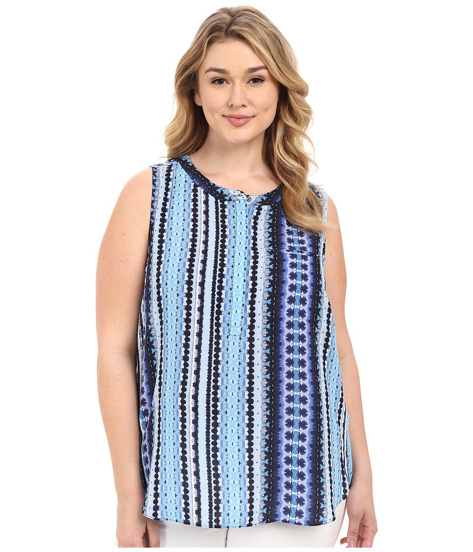 NYDJ Plus Size - Plus Size Key Item Sleeveless Pleat Back Blouse (Waterfall Stripe) Women's Sleeveless