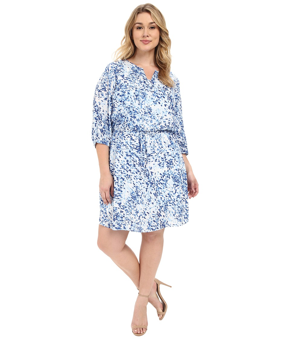 NYDJ Plus Size - Plus Size Alexa Pleat Back Dress (Sumi Splash Blue Wave) Women's Dress