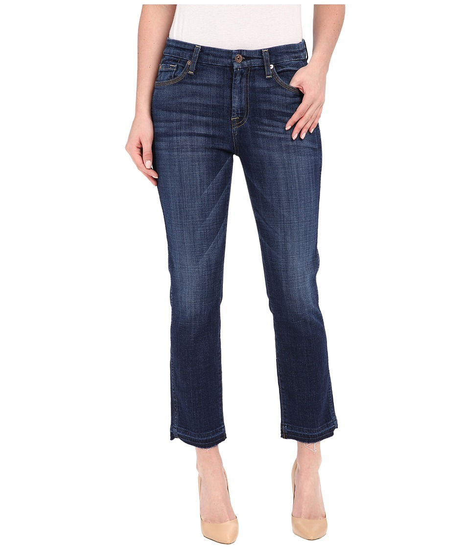 7 For All Mankind - Cropped High Waist Vintage Straight w/ Released Hem in Brilliant Blue Broken Twill (Brilliant Blue Broken Twill) Women's Jeans