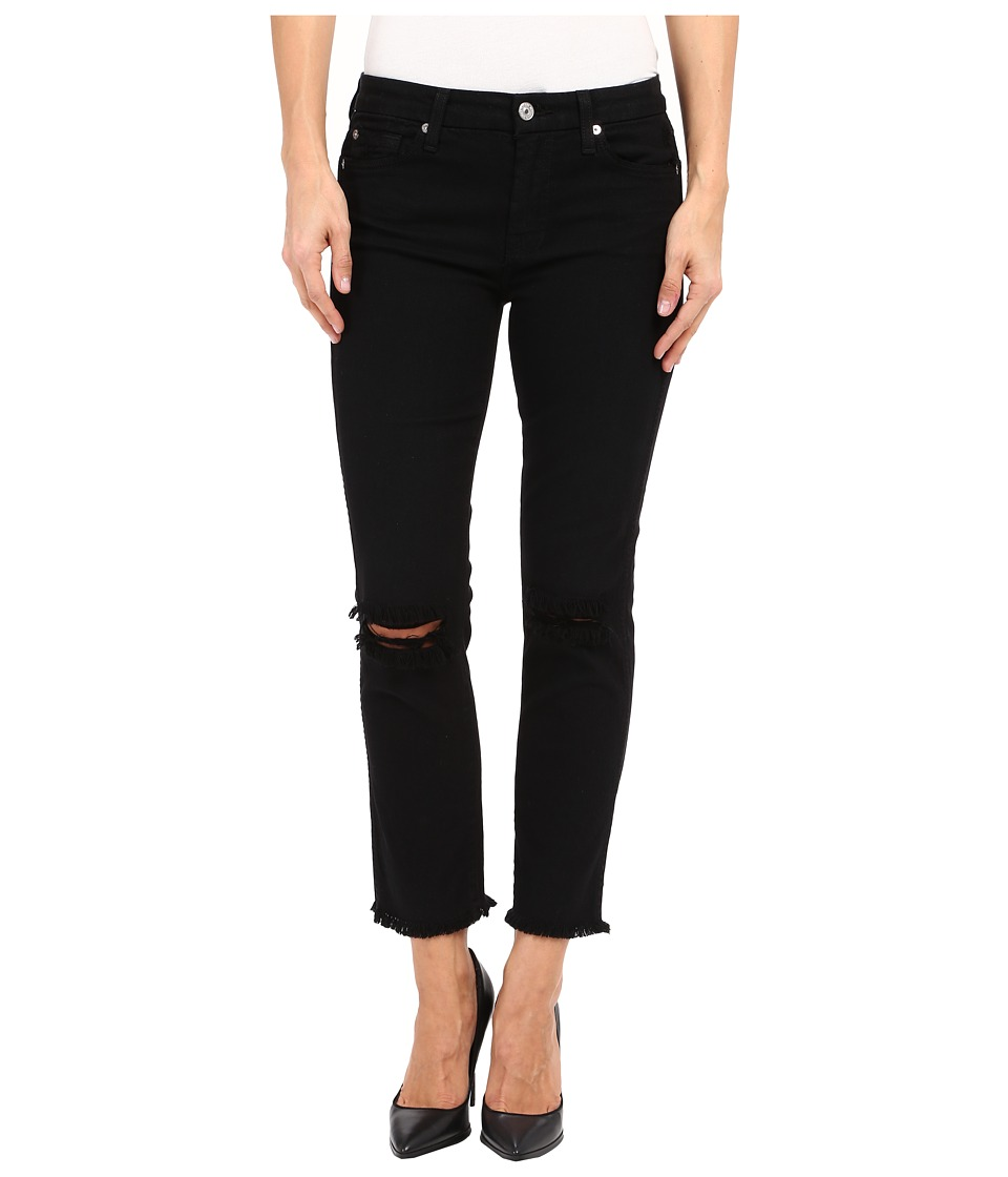 7 For All Mankind - Cropped High Waist Vintage Straight w/ Raw Hem Knee Holes in Black/Holes (Black/Holes) Women's Jeans
