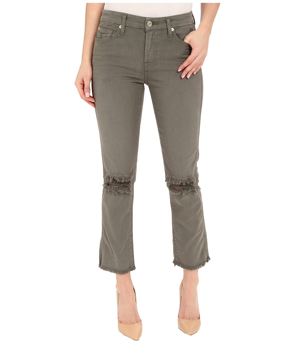 7 For All Mankind - Cropped High Waist Vintage Straight w/ Raw Hem Knee Holes in Moss (Moss) Women's Jeans