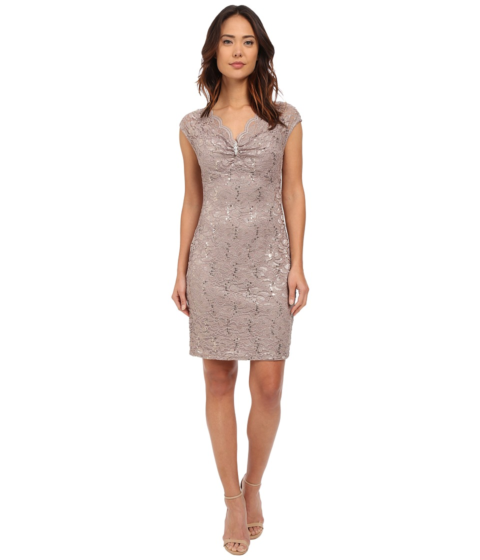 rsvp - Verona Short Sleeve Lace Dress (Champagne) Women's Dress