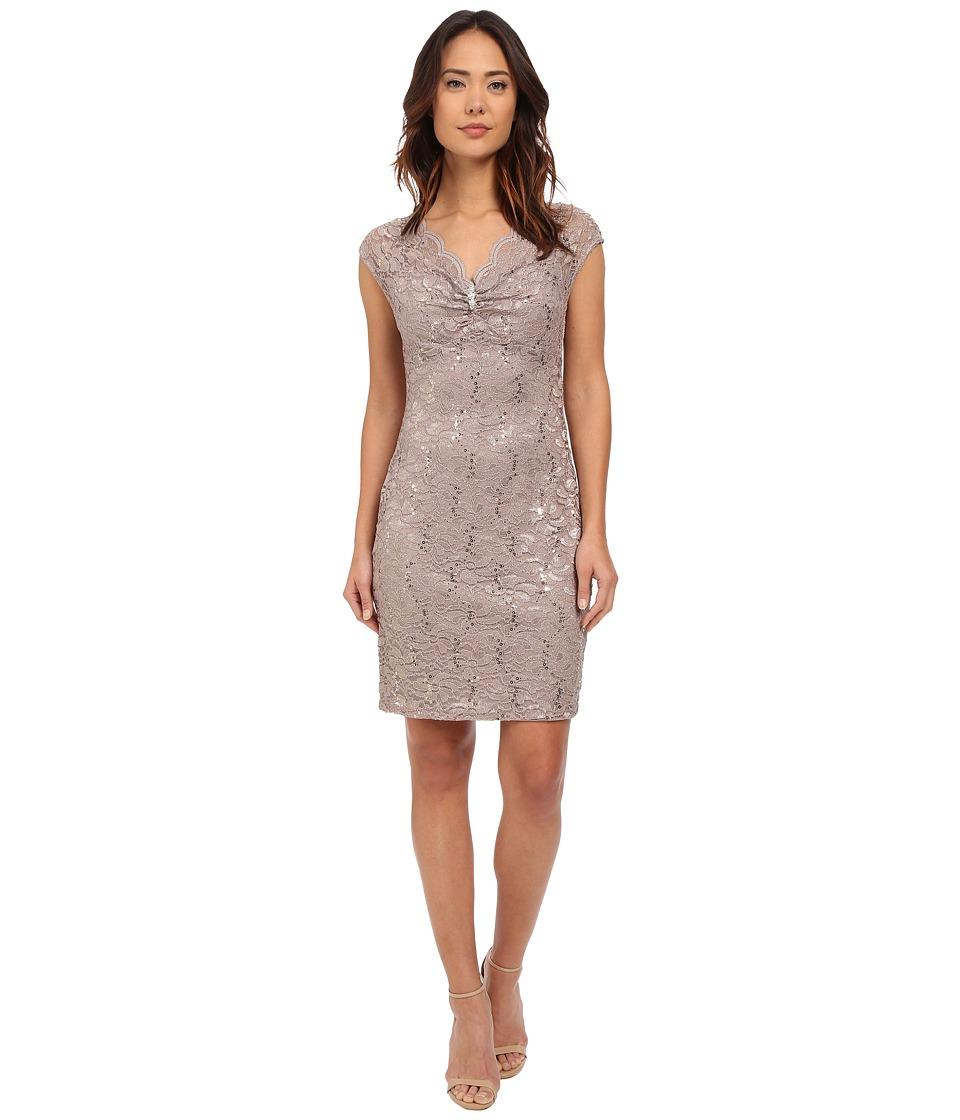 rsvp - Verona Short Sleeve Lace Dress (Champagne) Women's Dress