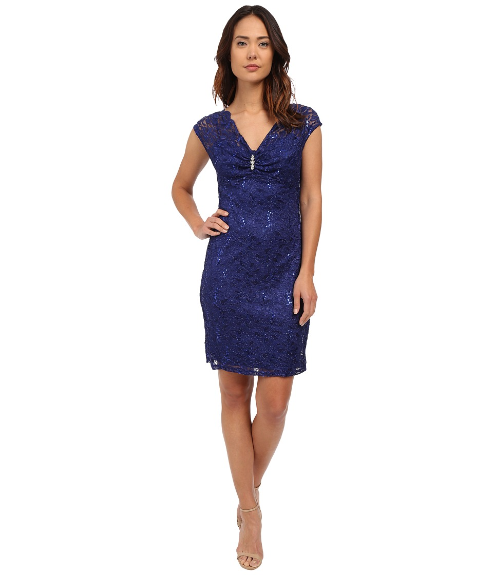 rsvp - Verona Short Sleeve Lace Dress (Royal) Women's Dress