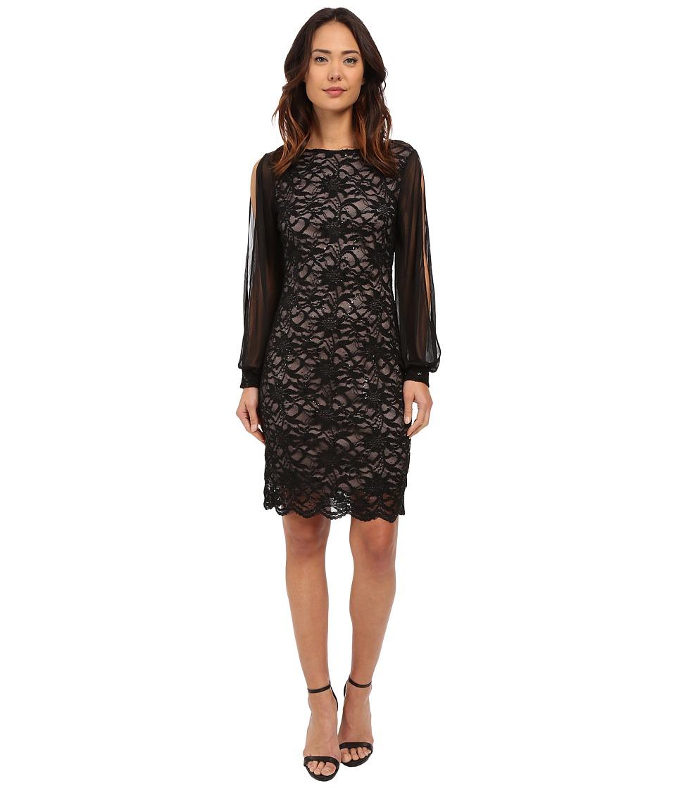 rsvp - Pescara Lace Dress (Black/Nude) Women's Dress