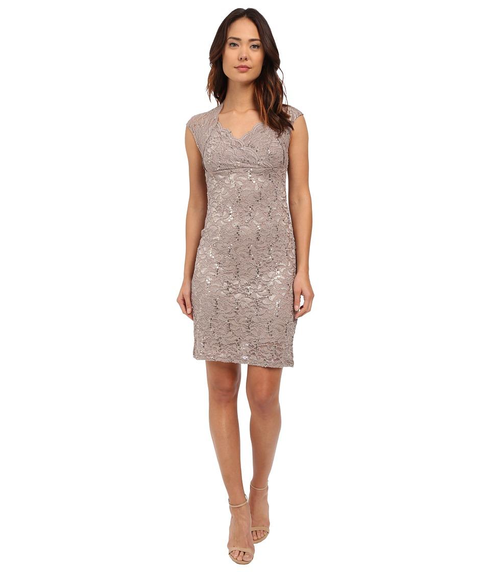 rsvp - Short Glitter Genoa Dress (Taupe) Women's Dress