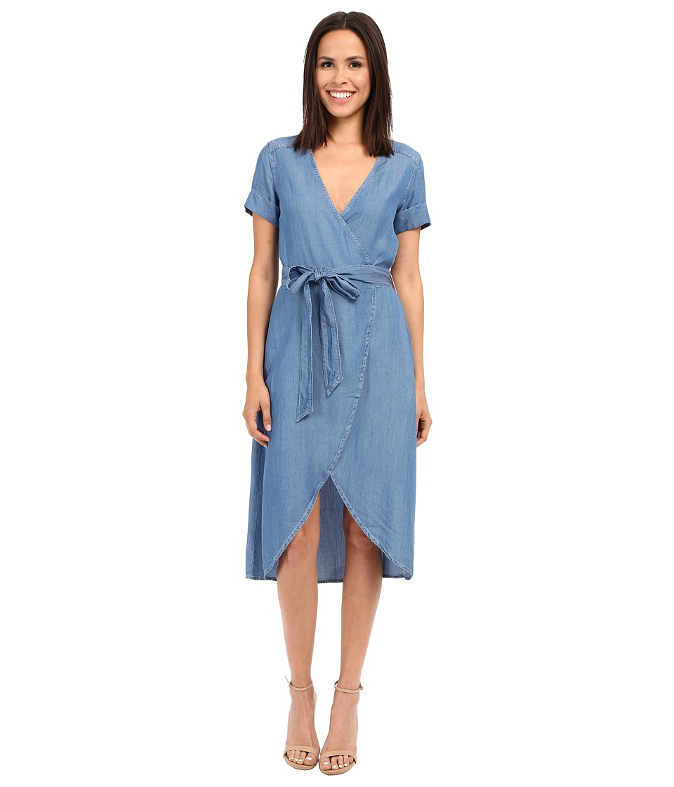7 For All Mankind - Denim Wrap Dress (Clear Water Blue) Women's Dress