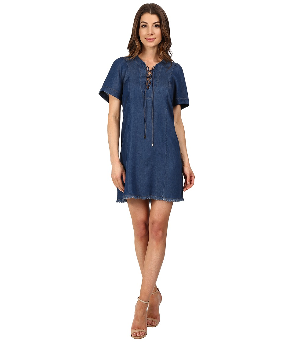 7 For All Mankind - Lace-Up Denim Dress (Deep Lagoon Blue) Women's Dress