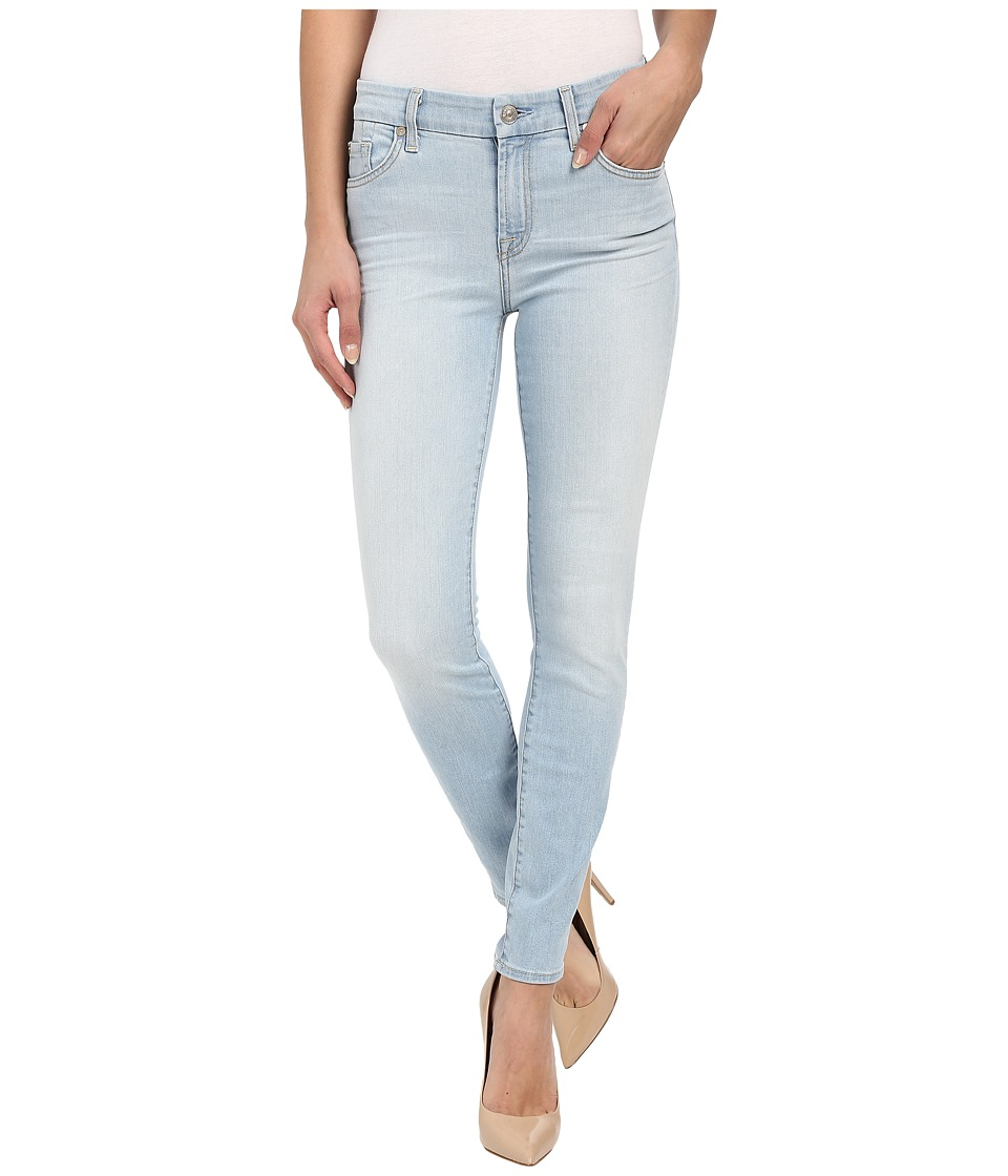 7 For All Mankind - The Ankle Skinny w/ Contrast Squiggle in Daylight Blue (Daylight Blue) Women's Jeans
