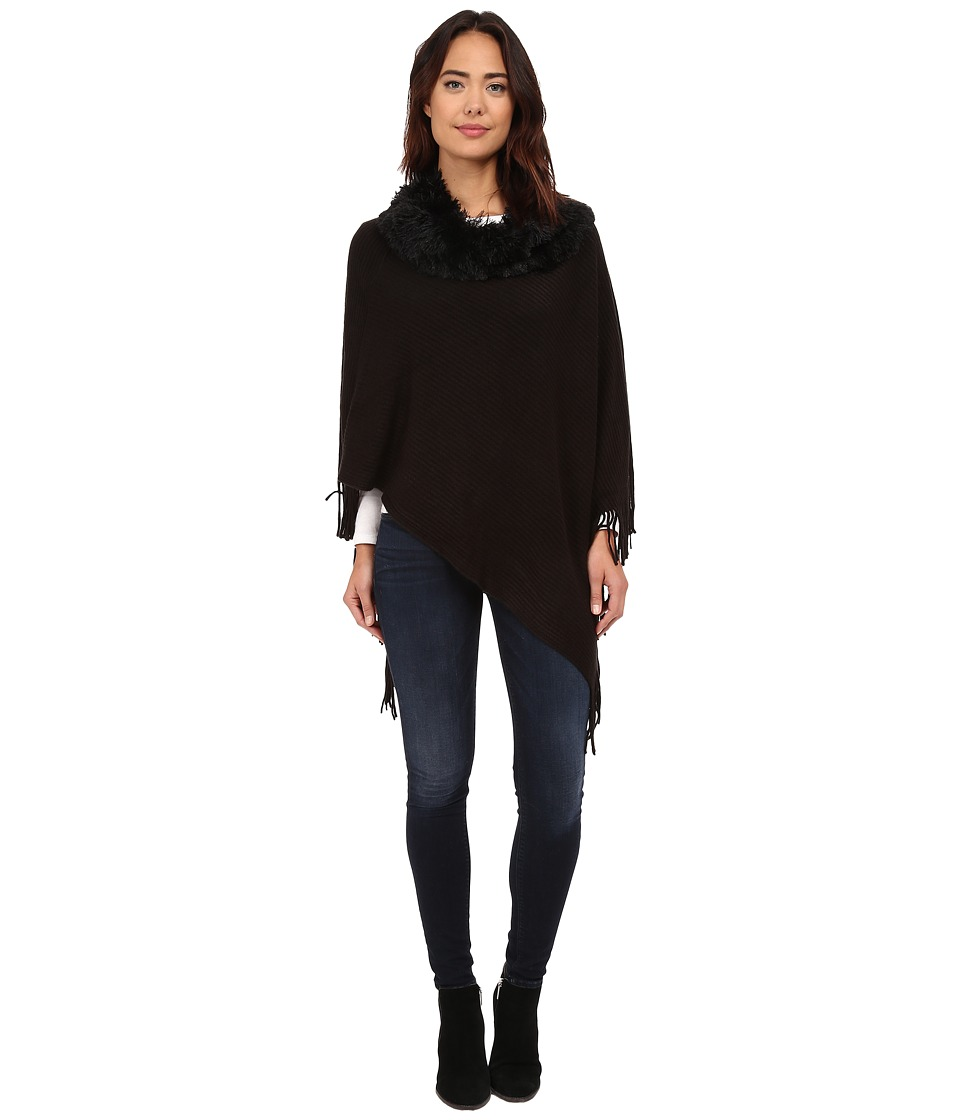 Steve Madden - Solid Rib Poncho w/ Shag Fur Collar (Black) Women's Sweater