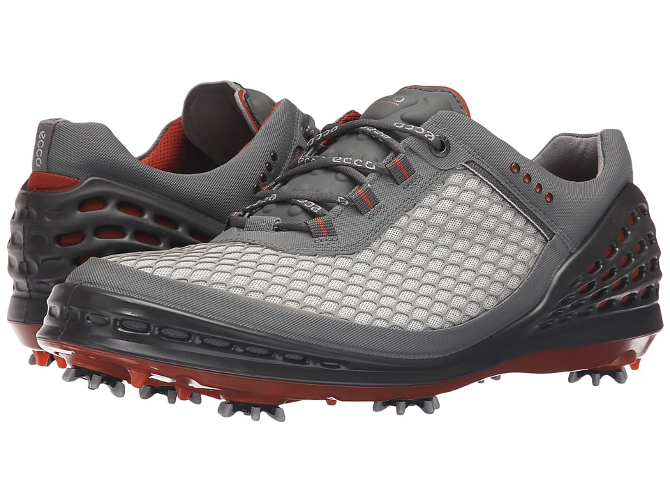 ECCO Golf - Evo Cage (Concrete-Wild Dove/Coral Blush) Men's Golf Shoes