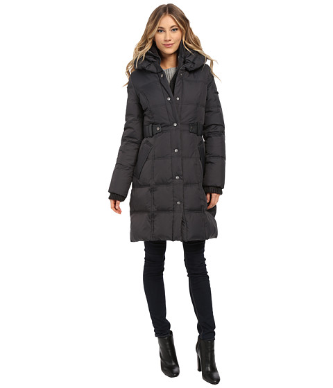 DKNY - Pillow Collar Side Tab Coat (Steel) Women's Coat