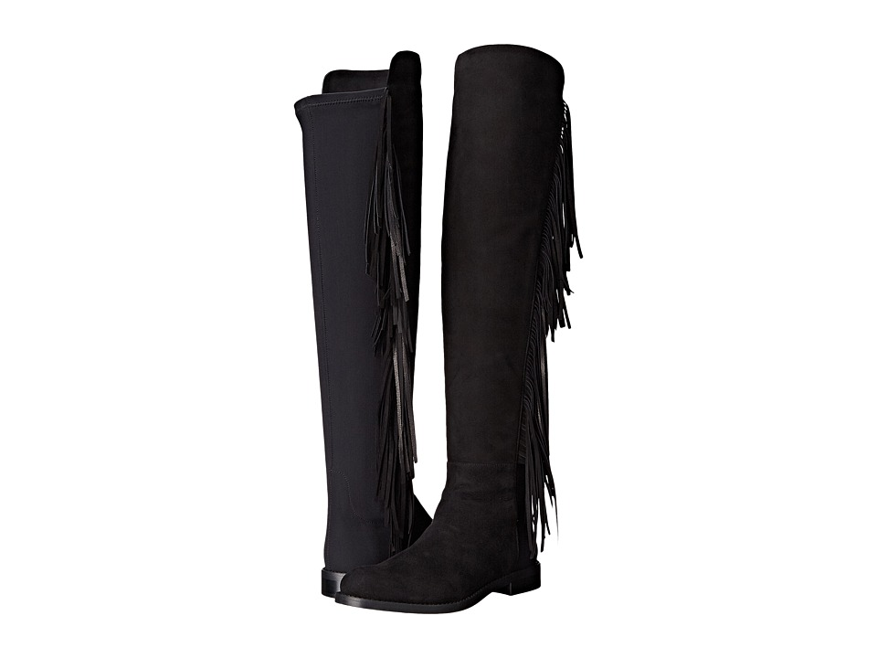 Massimo Matteo - Knee High Riding Boot with Fringe (Black) Women's Pull-on Boots
