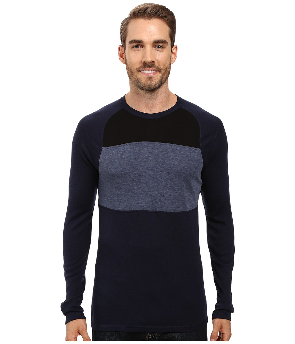 Smartwool - NTS Mid 250 Color Block Crew Top (Deep Navy/Dark Blue Steel Heather) Men's Sweater