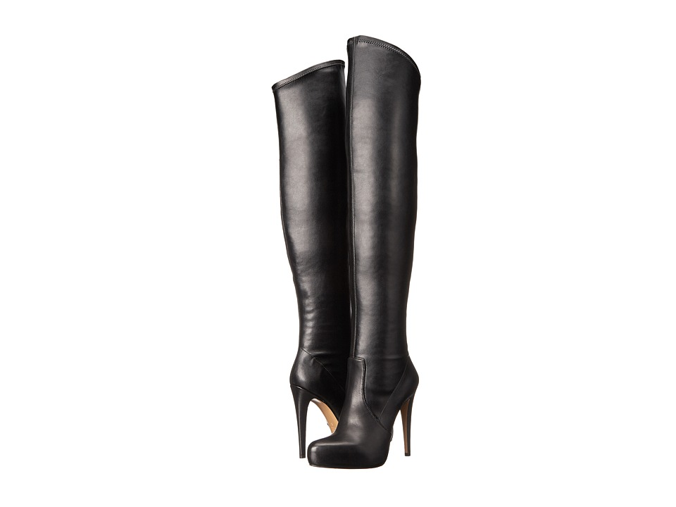 Massimo Matteo - Thigh High Stiletto (Black) Women's Zip Boots