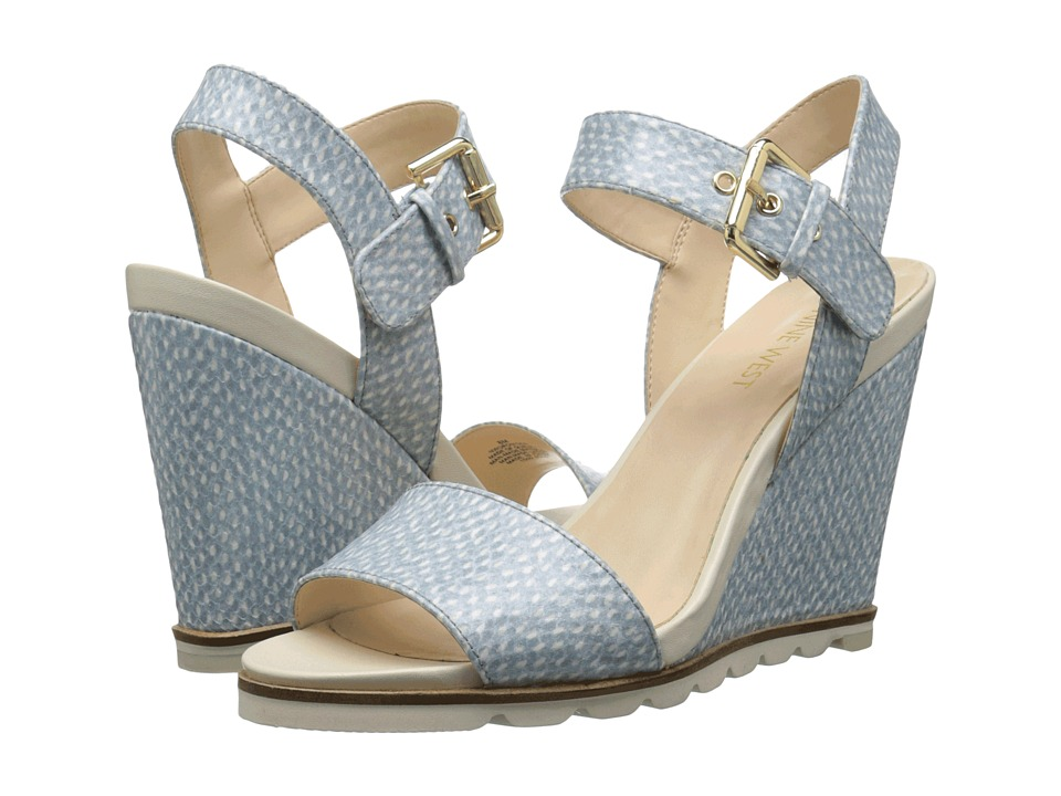 Nine West - Gronigen3 (Off-White/Light Blue Synthetic) Women's Wedge Shoes