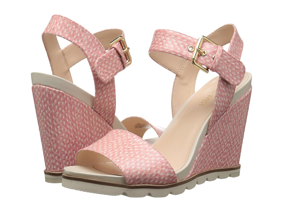 Nine West - Gronigen3 (Off-White/Pink Synthetic) Women's Wedge Shoes