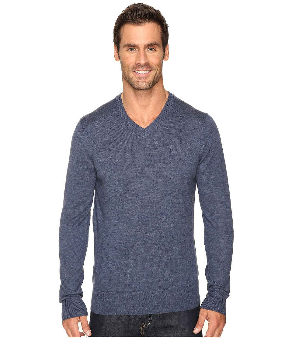 Smartwool - Kiva Ridge V-Neck Sweater (Dark Blue Steel Heather) Men's Long Sleeve Pullover