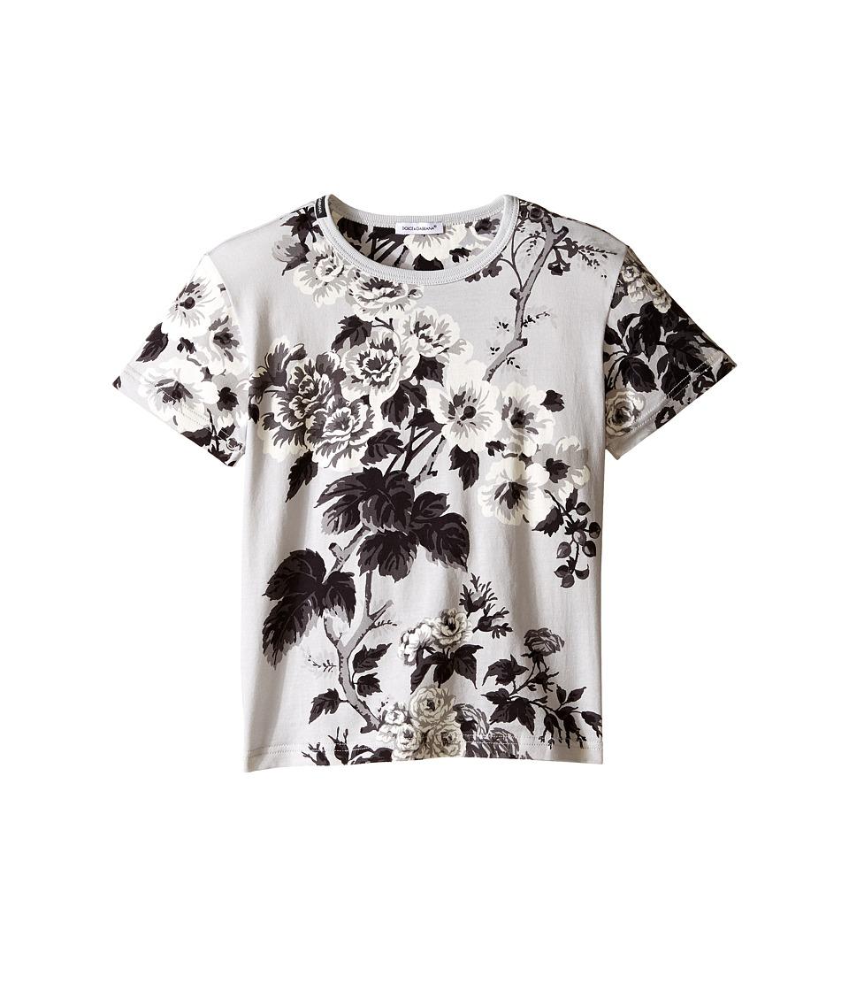 Dolce & Gabbana Kids - Rose Jersey T-Shirt (Toddler/Little Kids) (Grey Print) Girl's T Shirt