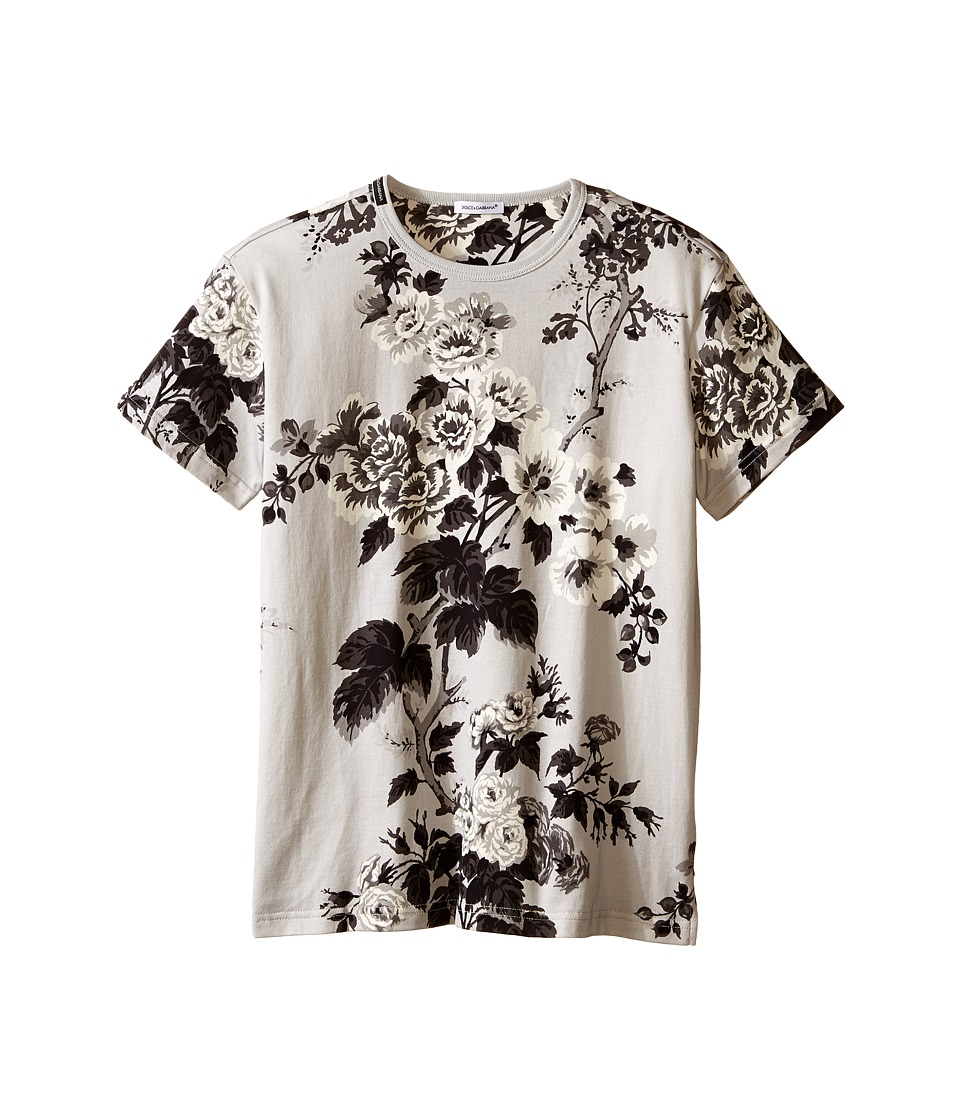 Dolce & Gabbana Kids - Rose Jersey T-Shirt (Big Kids) (Grey Print) Girl's T Shirt