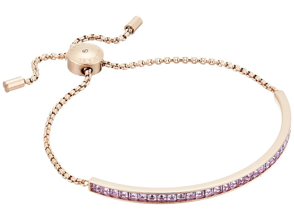 Michael Kors - Adjustable Slider Bracelet (Rose Gold/Lavender Cubic Zirconium) Bracelet